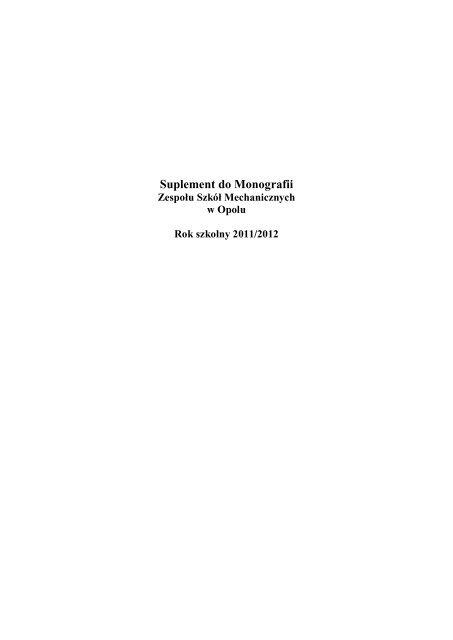 Suplement Do Monografii Zespół Szkół Mechanicznych W Opolu