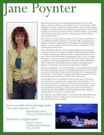 JPoynter Speakers Brochure 011807.qxp - Jane Poynter