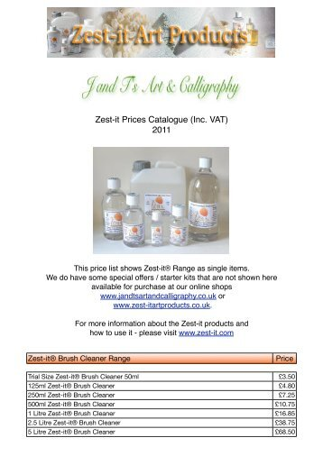 Zest-it Product Catalogue in PDF format. - J and T's Art and ...