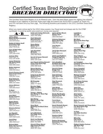 Certified Texas Bred Registry BREEDER DIRECTORY