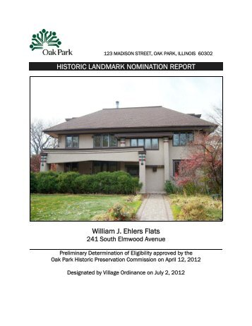 HISTORIC LANDMARK NOMINATION REPORT William J. Ehlers Flats