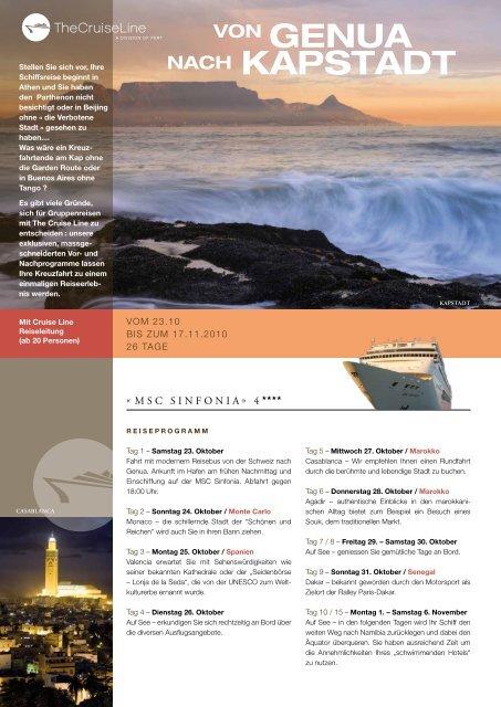 VON Genua Nach Kapstadt - The Cruise Line AG