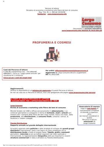 Il mercato Italia della profumeria e cosmesi ... - Largo Consumo