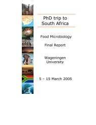 PhD study tour Food Microbiology South Africa, March 2005
