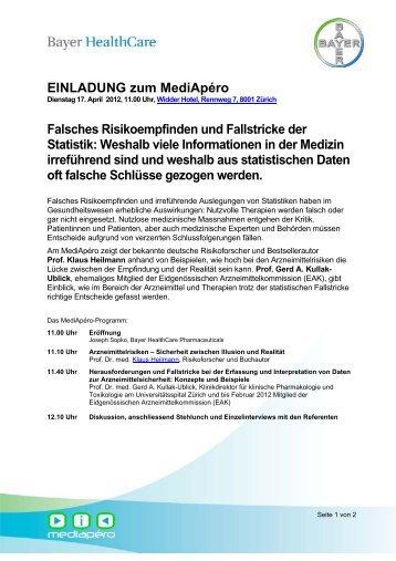 EINLADUNG zum Mediapéro Falsches Risikoempfinden und - Bayer