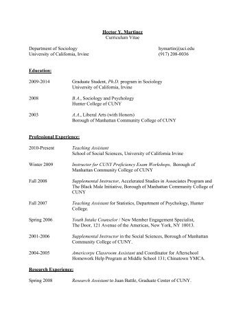 Hector Y. Martinez Curriculum Vitae Department of Sociology ...