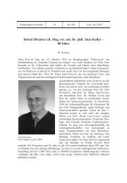 Hofrat Direktor i.R. Mag. rer. nat. Dr. phil. Alois Kofler – 80 Jahre