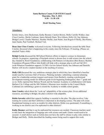P-20 council notes May 5, 2011JCC - The Gevirtz School