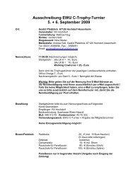 Ausschreibung EWU C-Trophy-Turnier 5. + 6. September 2009