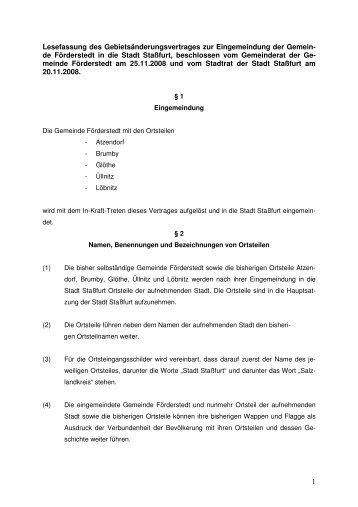 Gebietsänderungsvertrag zur Eingliederung der ... - Stadt Staßfurt