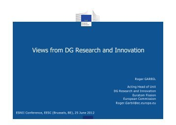 Vi f DG R h d I ti Views from DG Research and Innovation - snetp