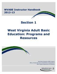 Section 1 West Virginia Adult Basic Education: Programs and ...