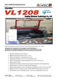 Laser Schneid- und Graviermaschine VL-1208 - CNC Kunststoff