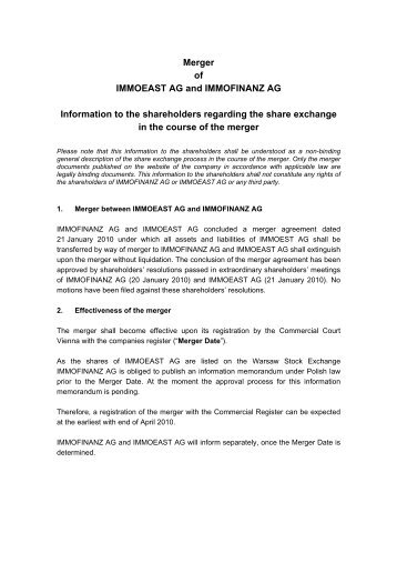 Merger of IMMOEAST AG and IMMOFINANZ AG Information to the ...