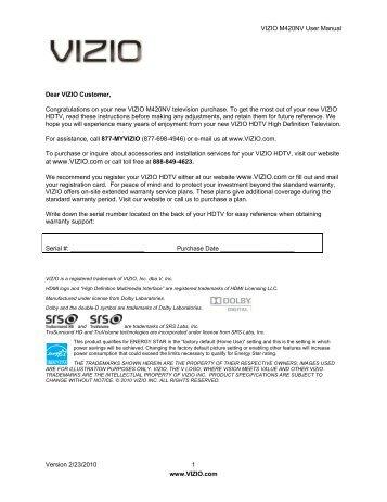 vizio 60hz e series user manual 1 version 3 16 2010 www vizio rh yumpu com Vizio M420NV Repair Tips vizio m220nv manual