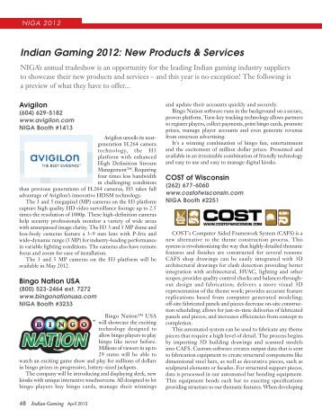 New Products and Services Avigilon - Indian Gaming