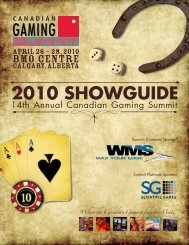 2010 SHOWGUIDE - Canadian Gaming Summit