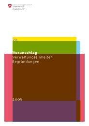 Voranschlag Verwaltungseinheiten - Eidg. Finanzverwaltung ...