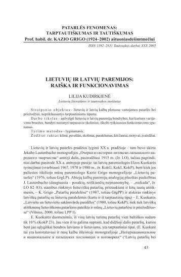 05 Kudirkienes.pdf - Lietuvių literatūros ir tautosakos institutas