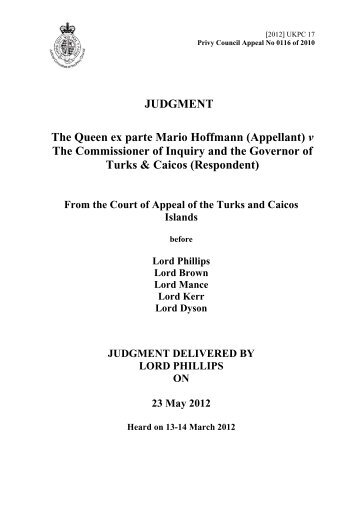 The Queen ex parte Mario Hoffmann - Judicial Committee of the ...