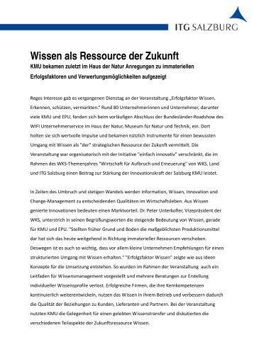 Wissen als Ressource der Zukunft - ITG Salzburg