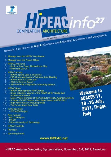 Welcome to ACACES'11, 10 -16 July, 2011, Fiuggi, Italy - HiPEAC