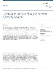 Transaction Costs and Equity Portfolio Capacity Analysis - ITG