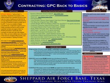 Contracting: GPC Back to Basics - Sheppard Air Force Base