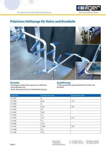 Produktdatenblatt Präzisions-Heftzange - Kilger GmbH ServicePartner