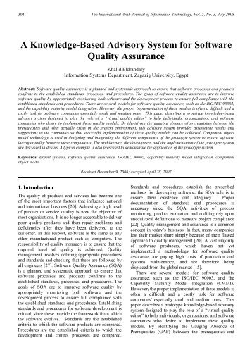 A Knowledge-Based Advisory System for Software Quality Assurance