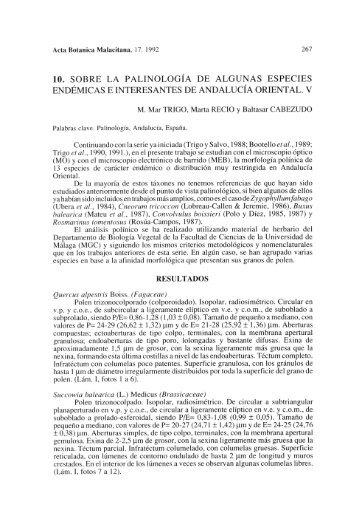 10. sobre la palinología de algunas especies endémicas e ...