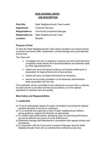 Safer Neighbourhood Team Leader Job Description March 2012   Isos