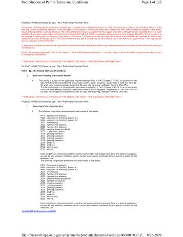Page 1 of 125 Reproduction of Permit Terms and Conditions 8/26 ...
