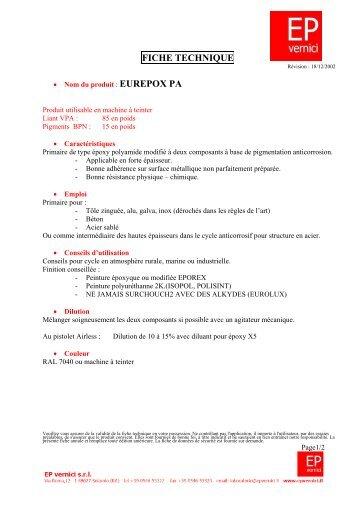 FICHE TECHNIQUE EP VERNICI - Provence Peinture Distribution