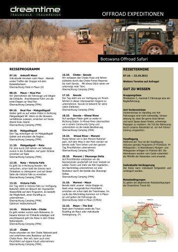 Detailliertes Reiseprogramm - Dreamtime Travel