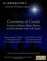 Ceremony of Carols - Program - Clerestory