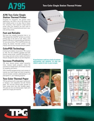 A795 Two-Color Single Station Thermal Printer - National Bar Code