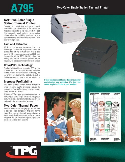 A795 Two-Color Single Station Thermal Printer - National Bar