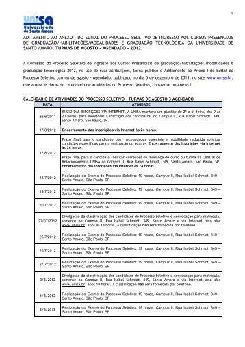 ADITAMENTO AO ANEXO I DO EDITAL DO PROCESSO ... - Unisa