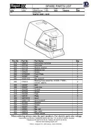 EDNord - Rapid El-hæftemaskine partsliste og tegning