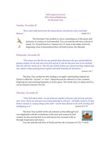 Faith magazine presents 2012 Advent Reflections for the Jesse Tree ...