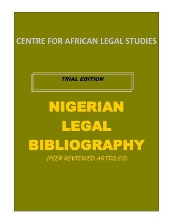 NIGERIAN LEGAL BIBLIOGRAPHY - Library