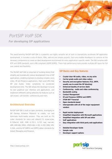 PortSIP VoIP SDK Datasheet - PDF
