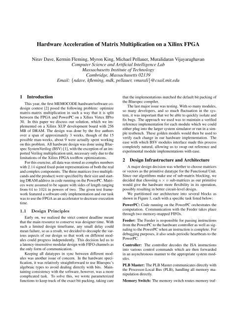 Hardware Acceleration of Matrix Multiplication on a Xilinx