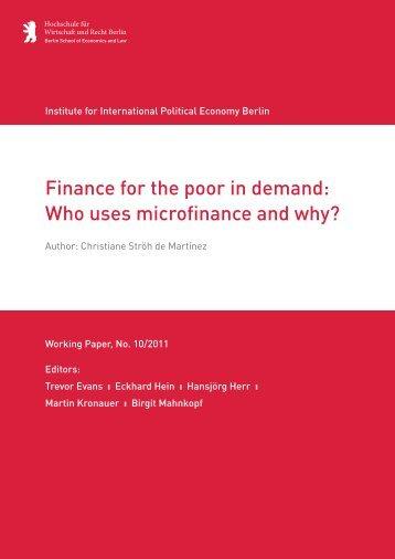 Who uses microfinance and why? - IPE Berlin