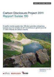 Carbon Disclosure Project 2011 Rapport Suisse 100