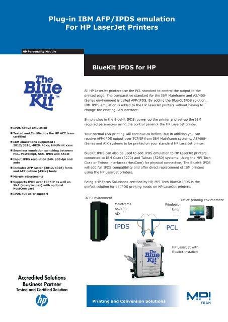 Plug-in IBM AFP/IPDS emulation For HP LaserJet Printers