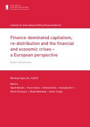 Eckhard Hein, Finance-dominated capitalism, re ... - IPE Berlin