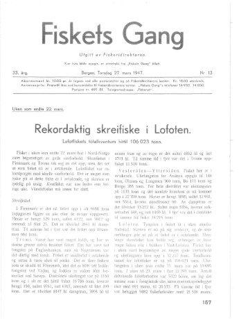 Fiskets Gang. Nr. 13-1947. 33. årgang
