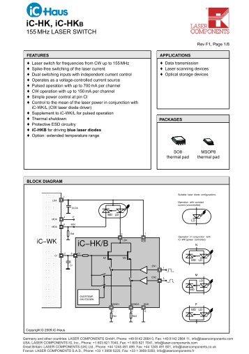 iC-HK, iC-HKB 155MHz Laser Switch (PDF - Laser Components